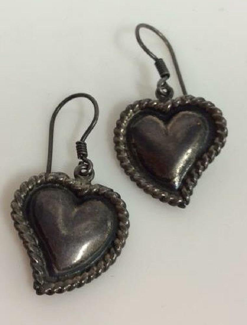 Pair Sterling Silver Heart Earrings