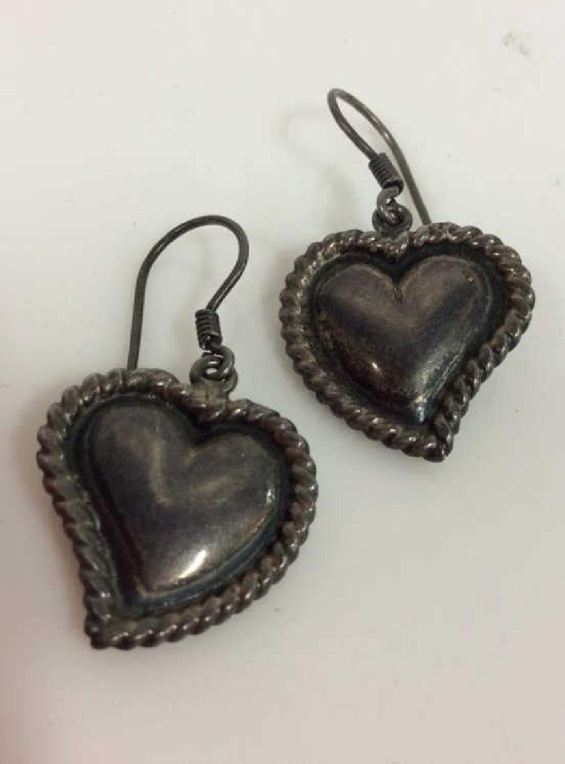 Pair Sterling Silver Heart Earrings - 2