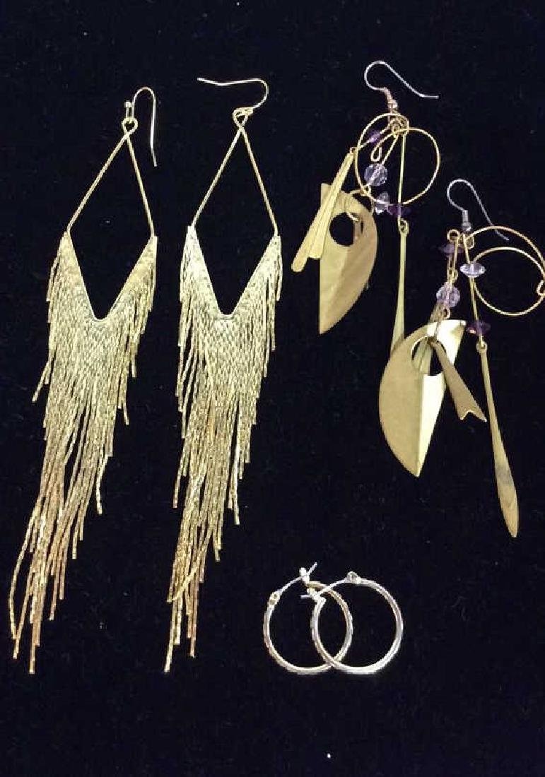 Lot 3 Pairs of Gold Toned Metal Earrings