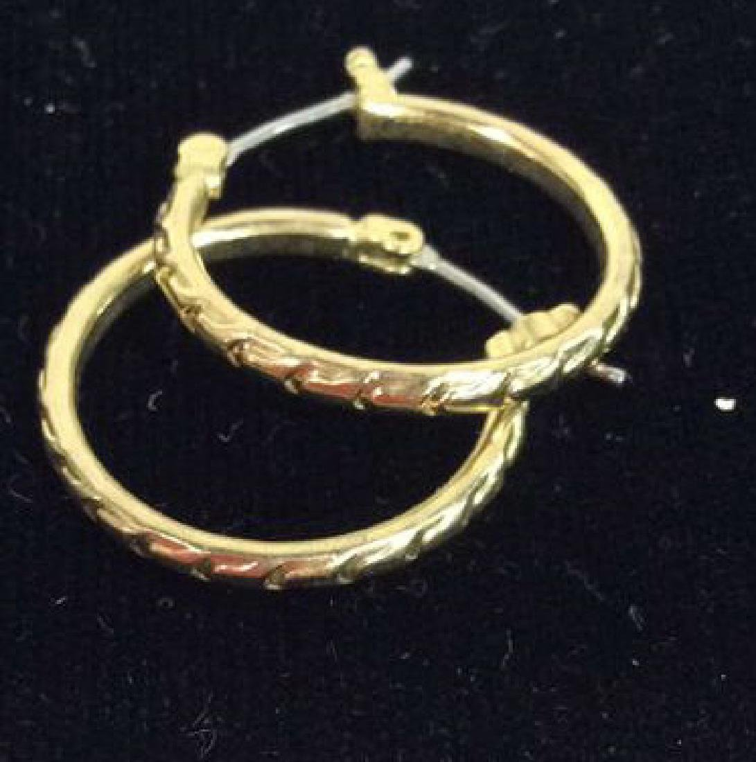 Lot 3 Pairs of Gold Toned Metal Earrings - 4