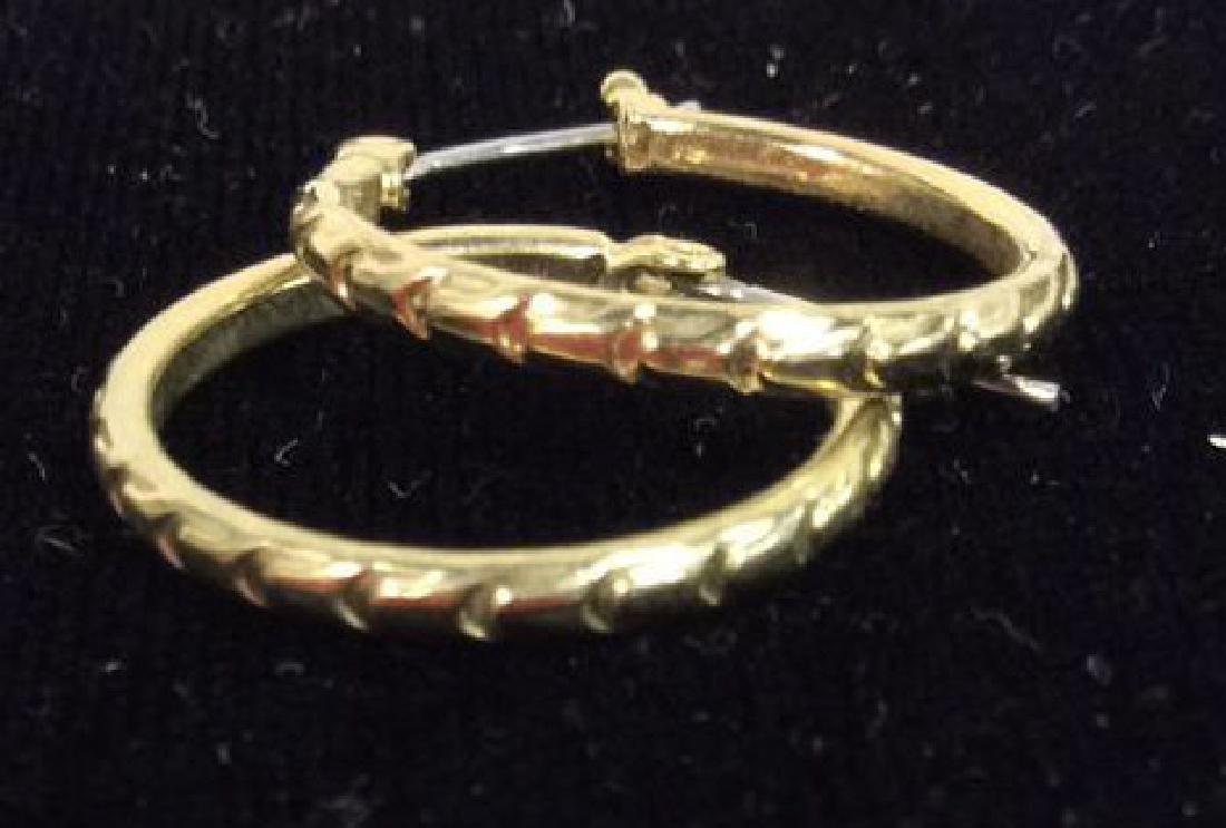 Lot 3 Pairs of Gold Toned Metal Earrings - 5