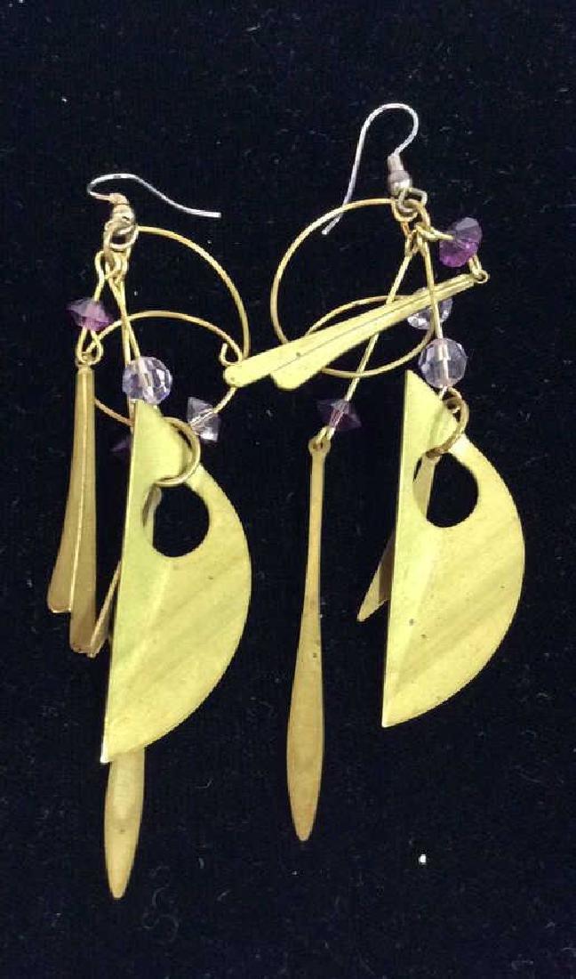 Lot 3 Pairs of Gold Toned Metal Earrings - 6