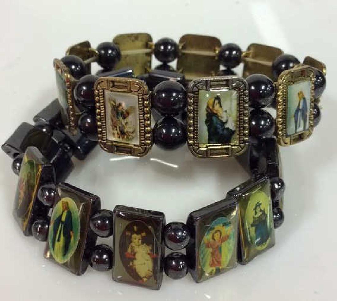 Lot 2 Metal Stretch Bracelets W Religious Images