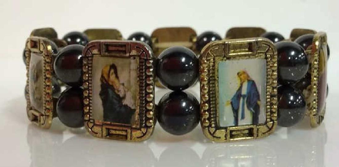 Lot 2 Metal Stretch Bracelets W Religious Images - 2