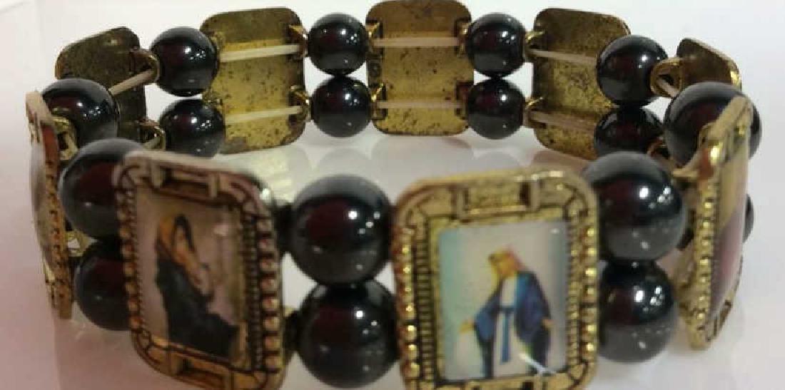 Lot 2 Metal Stretch Bracelets W Religious Images - 3
