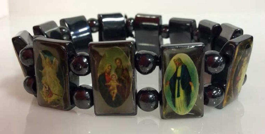 Lot 2 Metal Stretch Bracelets W Religious Images - 4