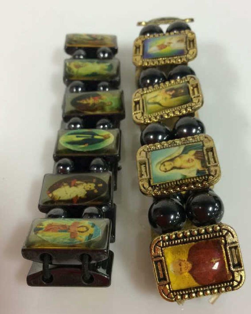 Lot 2 Metal Stretch Bracelets W Religious Images - 5