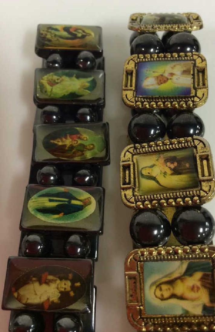 Lot 2 Metal Stretch Bracelets W Religious Images - 6