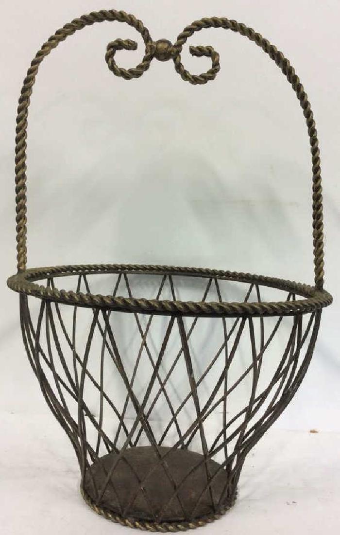 Tall Woven Handled Metal Basket