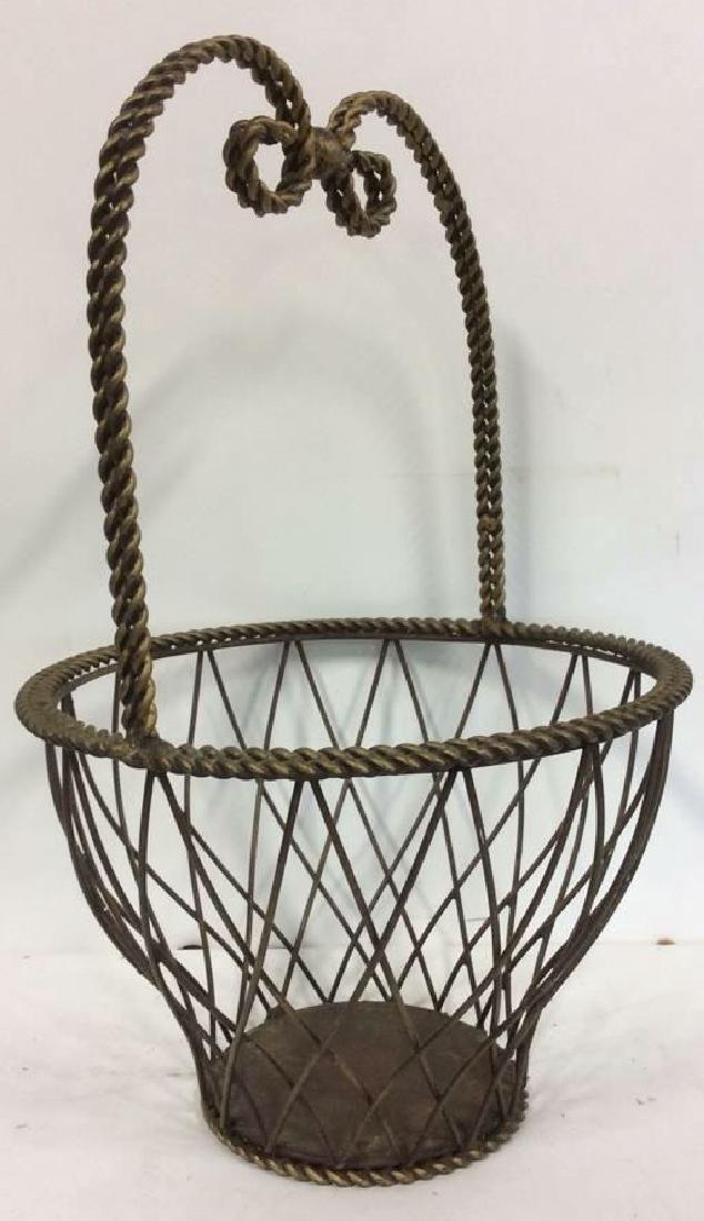 Tall Woven Handled Metal Basket - 2