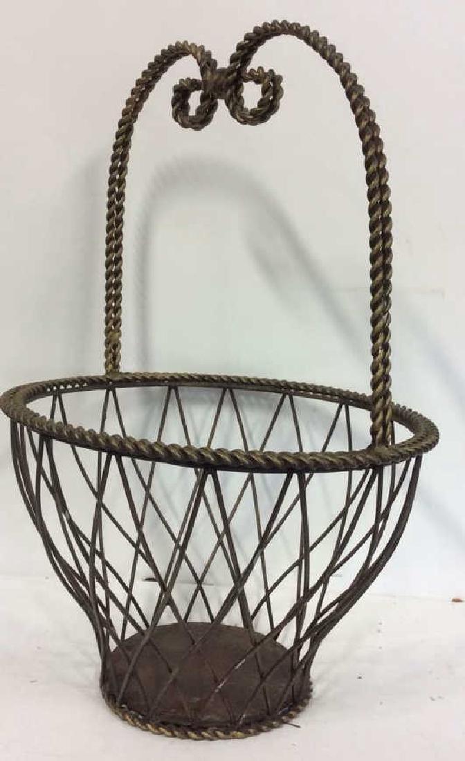 Tall Woven Handled Metal Basket - 3