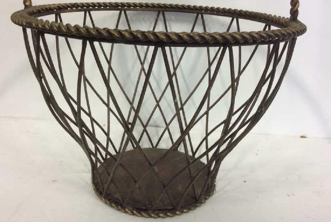 Tall Woven Handled Metal Basket - 5