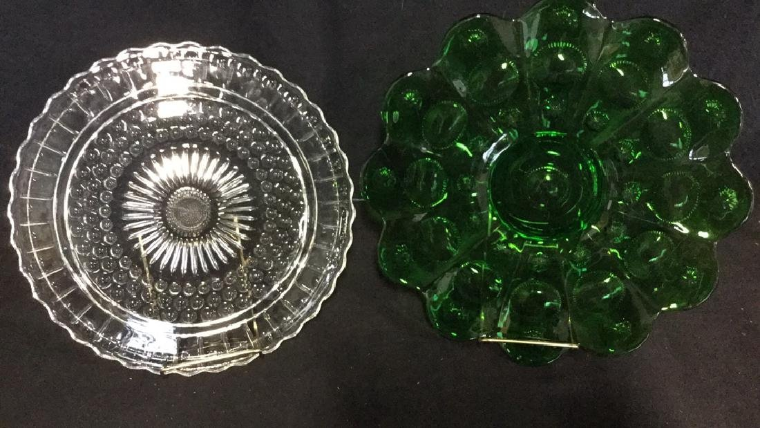 Lot 2 Vintage Green And Clear Depression Glass
