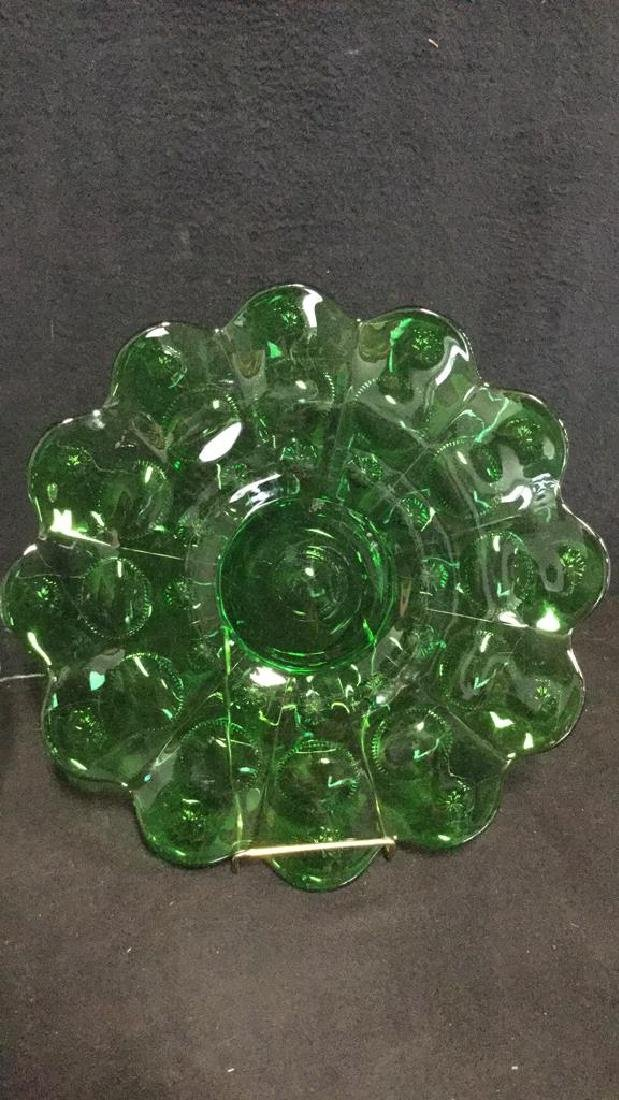 Lot 2 Vintage Green And Clear Depression Glass - 3