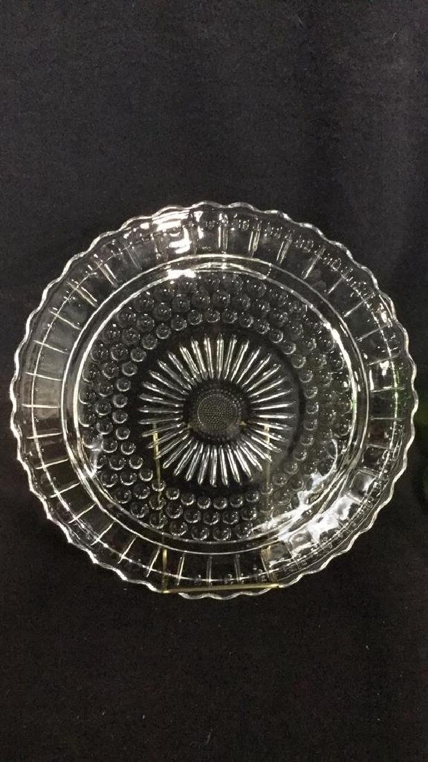 Lot 2 Vintage Green And Clear Depression Glass - 4