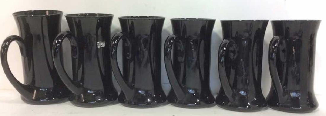 Lot 6 Black Toned Italian Mugs