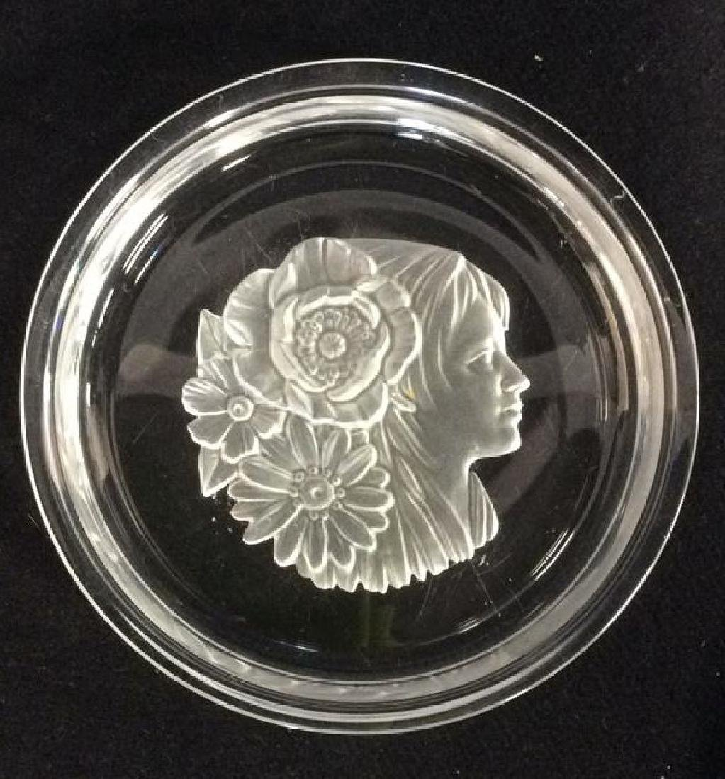 Frosted Glass Trinket Dish w Profile Medalian