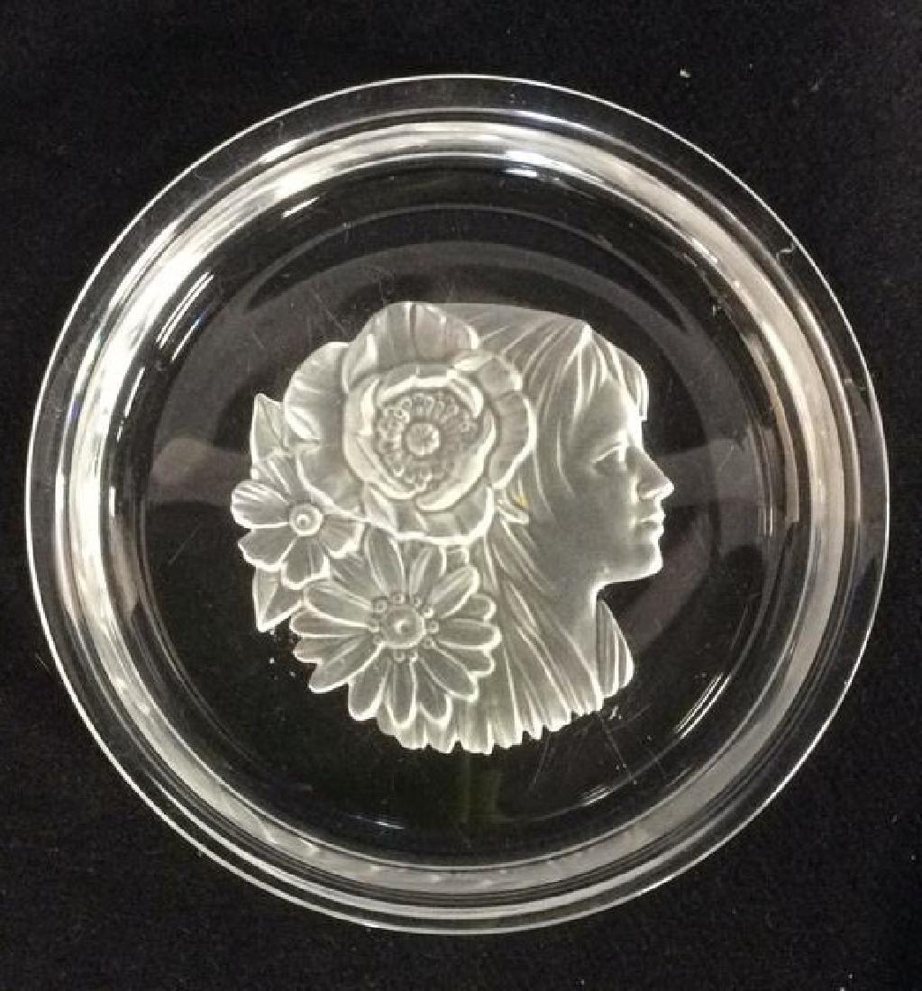 Frosted Glass Trinket Dish w Profile Medalian