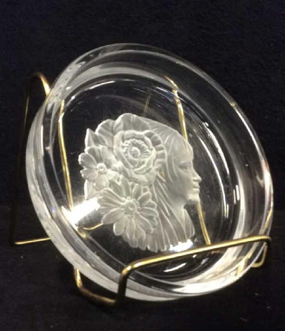 Frosted Glass Trinket Dish w Profile Medalian - 2
