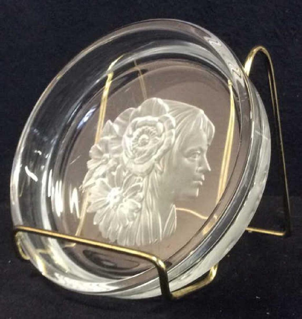 Frosted Glass Trinket Dish w Profile Medalian - 3