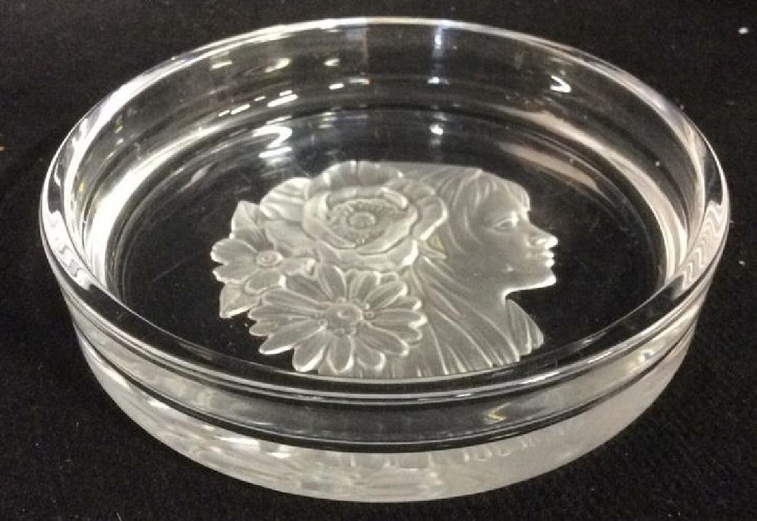 Frosted Glass Trinket Dish w Profile Medalian - 4