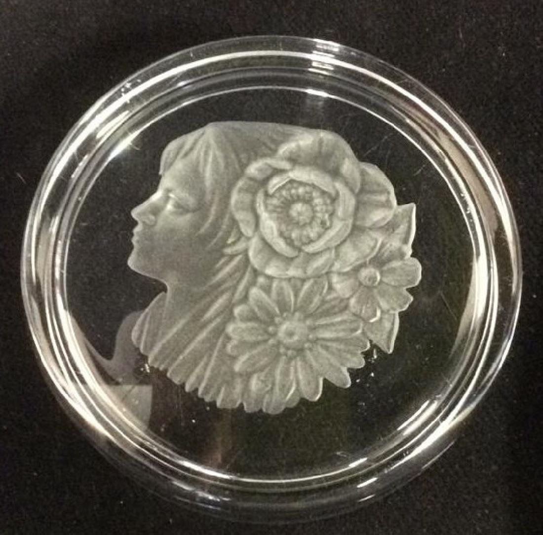 Frosted Glass Trinket Dish w Profile Medalian - 5