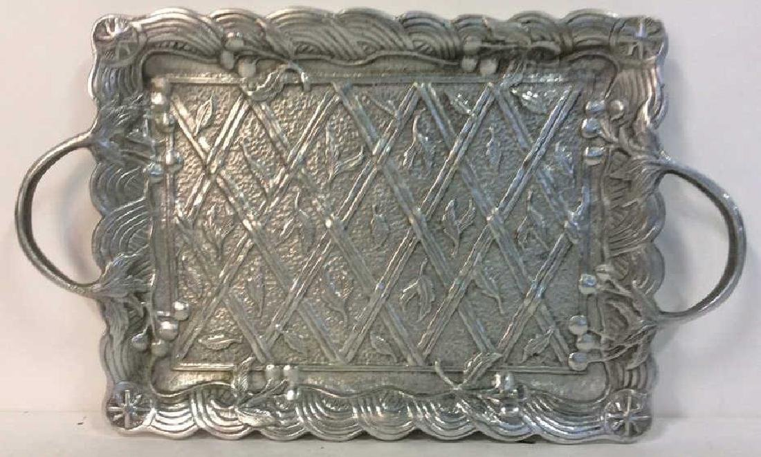 Metal Serving Tray W Intricate Relief Detail