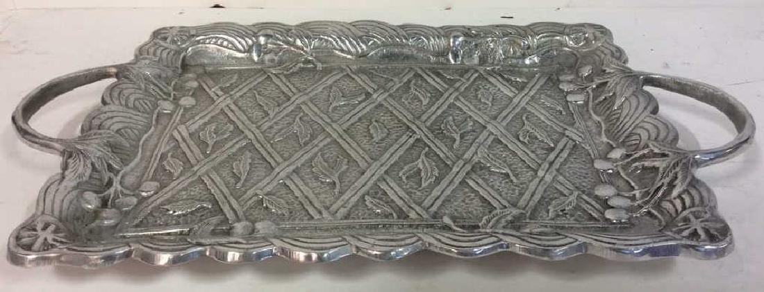 Metal Serving Tray W Intricate Relief Detail - 2