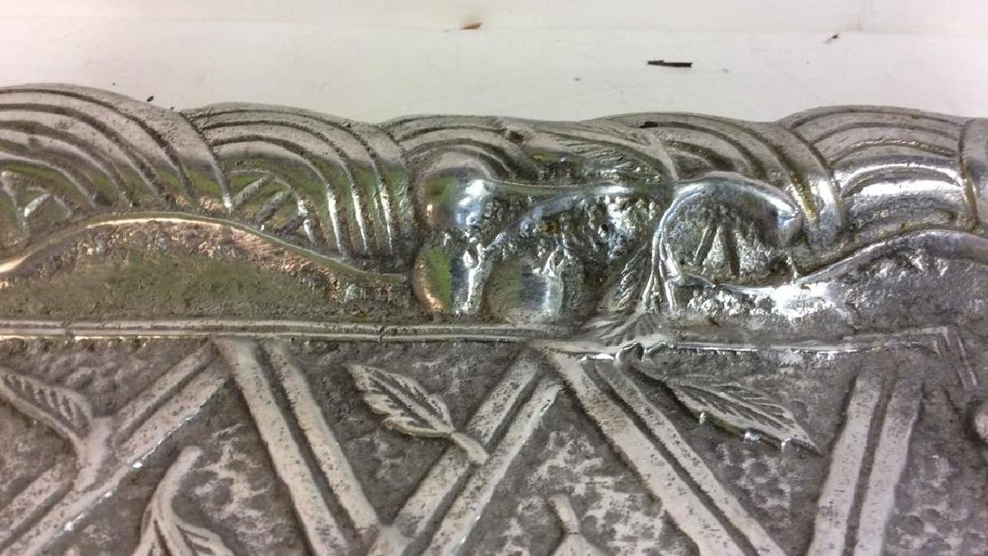 Metal Serving Tray W Intricate Relief Detail - 4