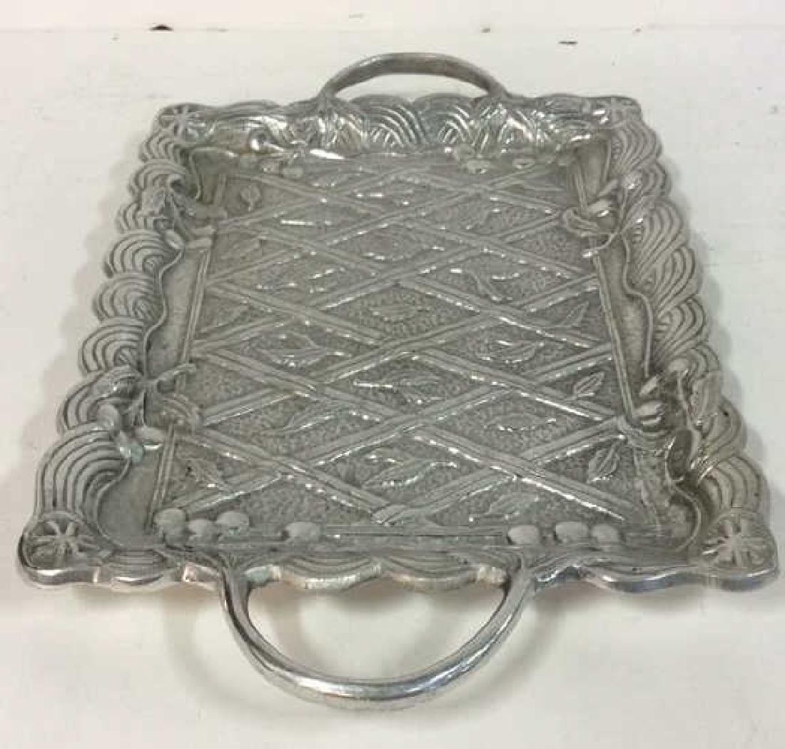 Metal Serving Tray W Intricate Relief Detail - 6
