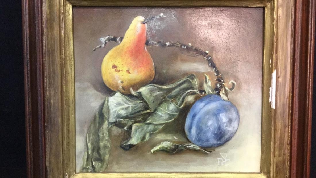 Framed Still Life Painting Of Fruit And Branch - 10