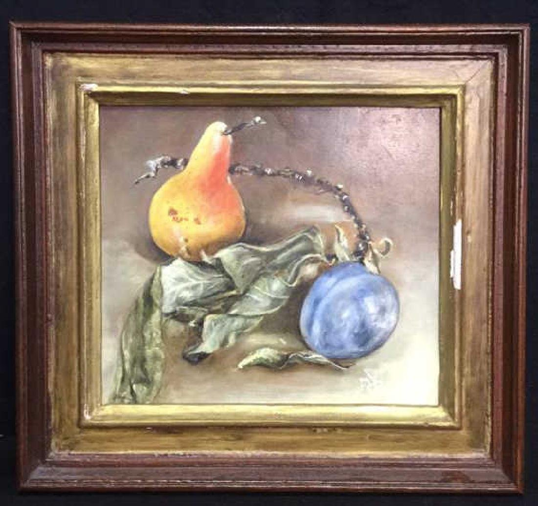 Framed Still Life Painting Of Fruit And Branch