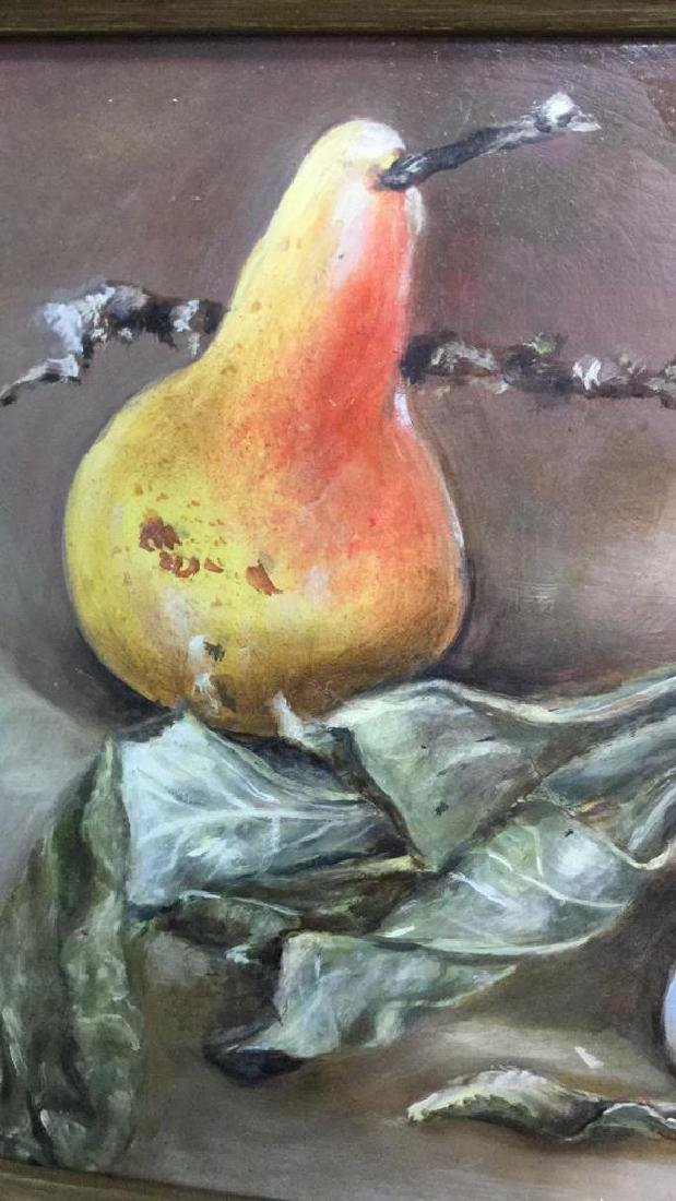 Framed Still Life Painting Of Fruit And Branch - 3