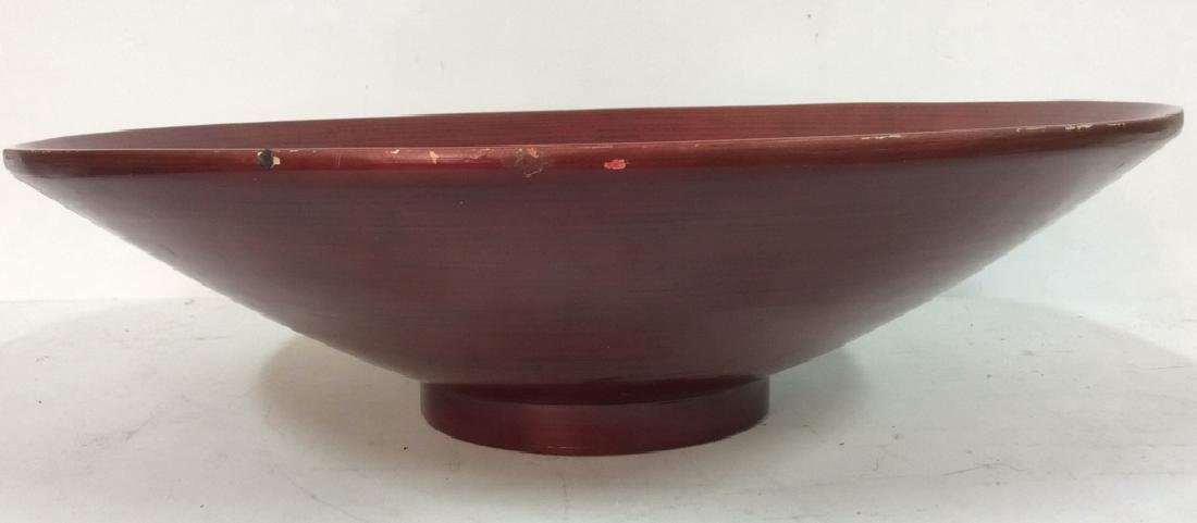 Red Toned Wooden Centerpiece Bowl - 4