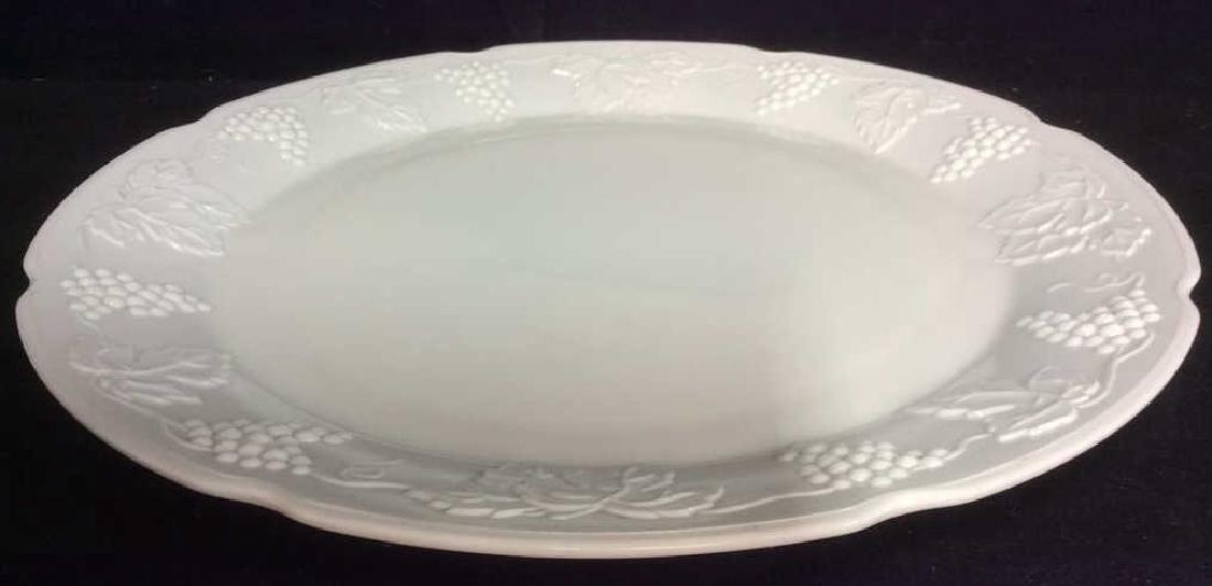 Milk Glass Resembling Serving Platter - 2