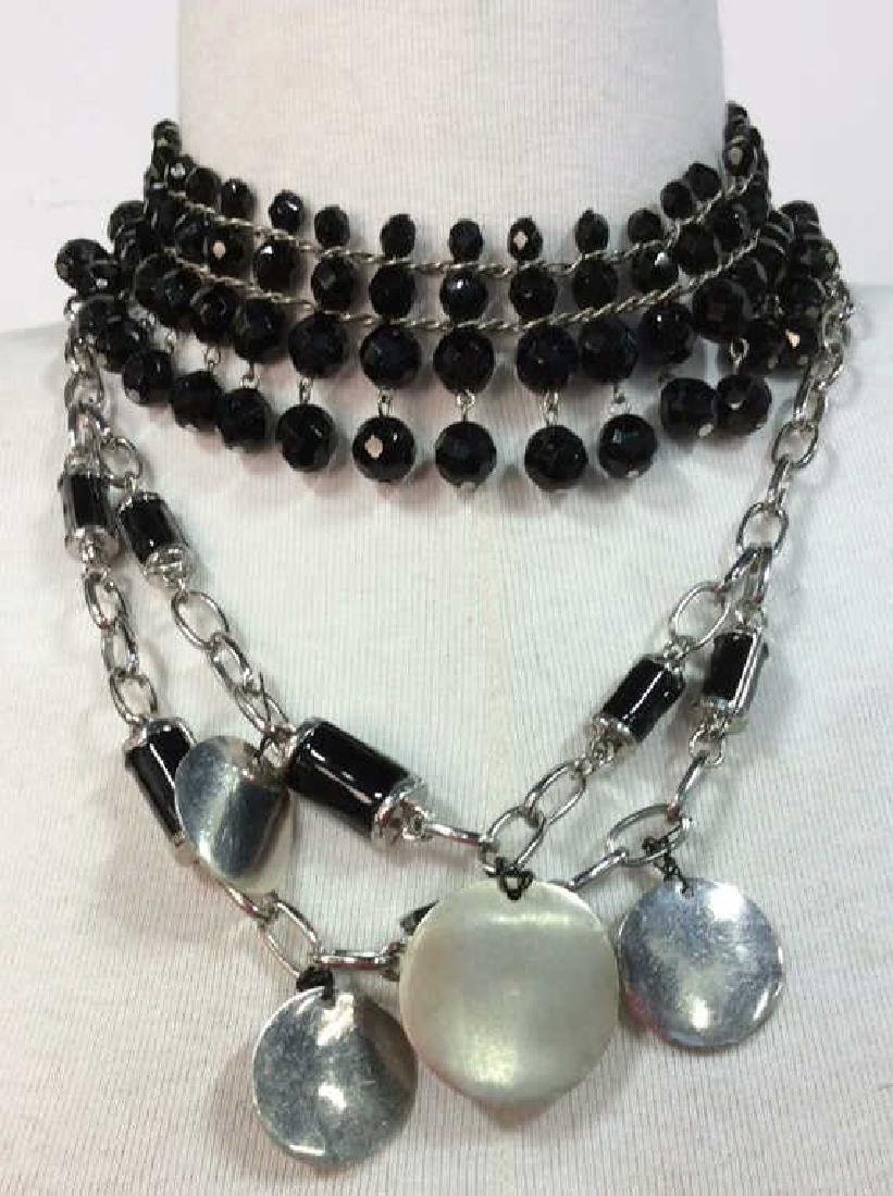 Lot 2 Women's Beaded Silver Toned Necklaces