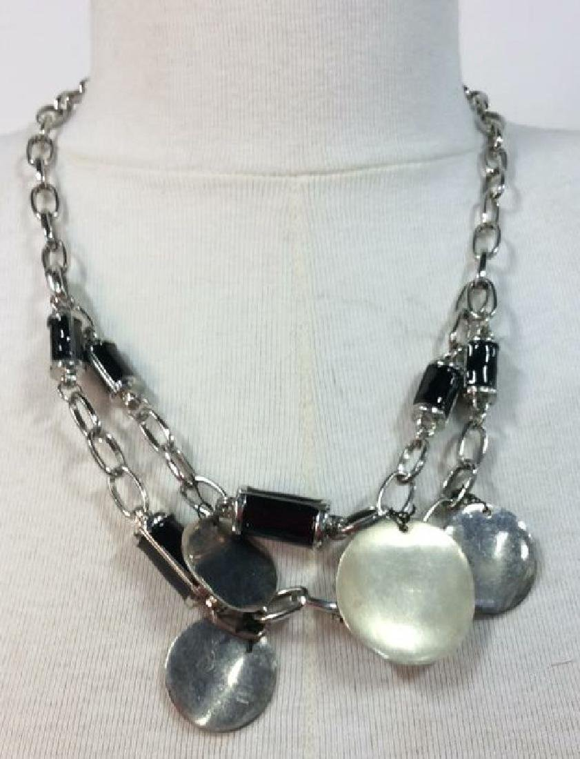 Lot 2 Women's Beaded Silver Toned Necklaces - 5