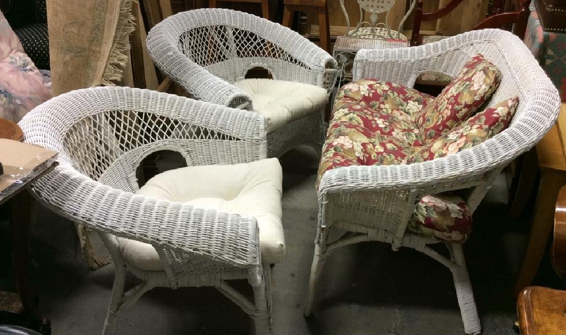 3 PC Set White Painted Wicker Outdoor Furniture