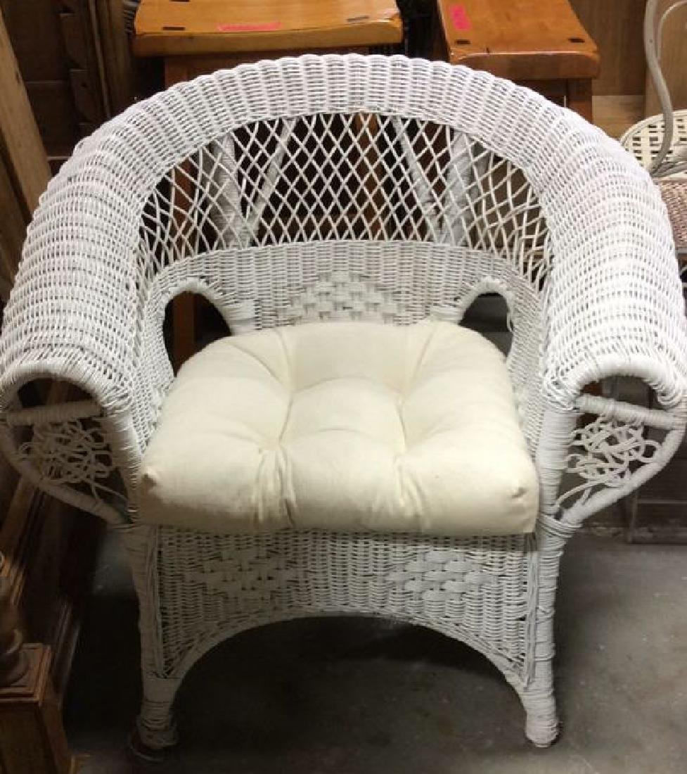 3 PC Set White Painted Wicker Outdoor Furniture - 5