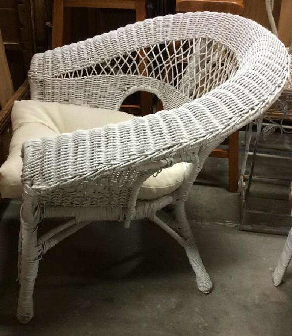 3 PC Set White Painted Wicker Outdoor Furniture - 7
