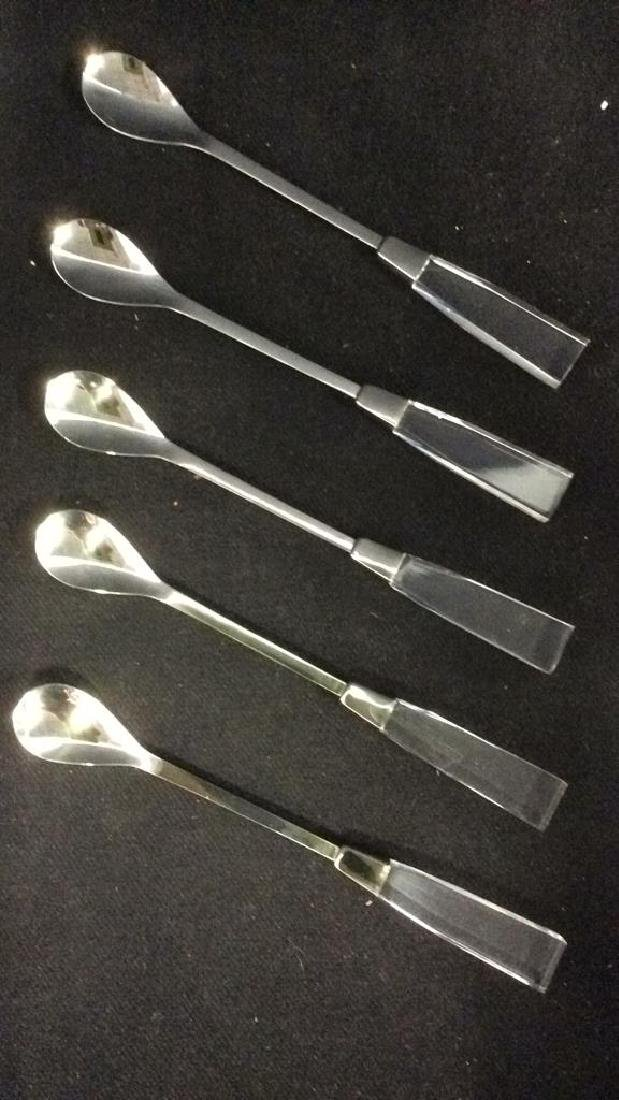 Lot 5 SUPREME CUTLERY Lucite Handled Spoons
