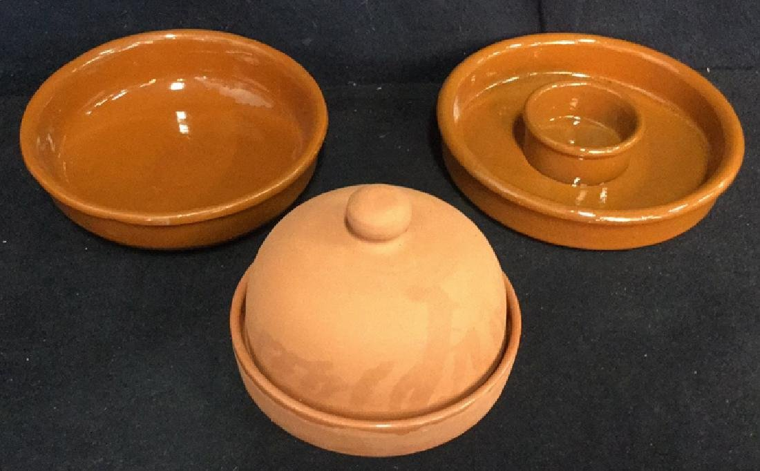 Lot 3 Terra-Cotta Garlic Roaster And Dishes