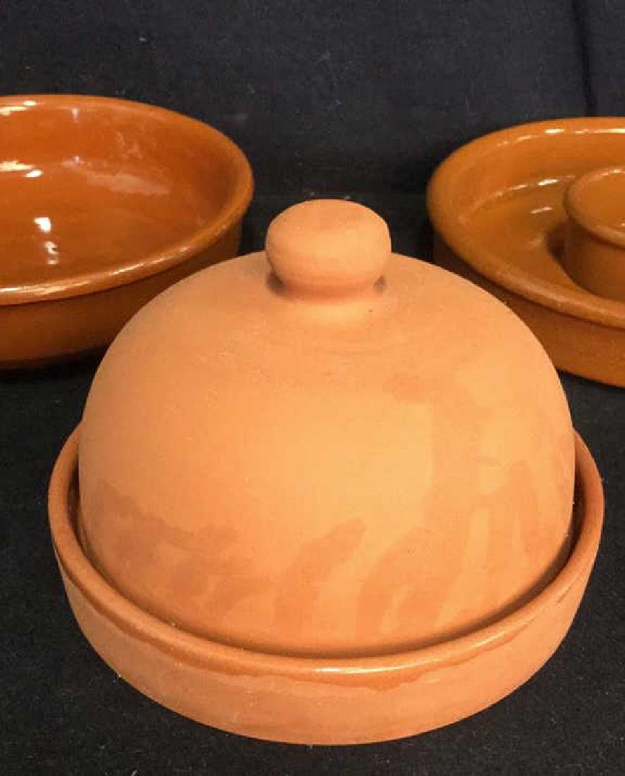 Lot 3 Terra-Cotta Garlic Roaster And Dishes - 2