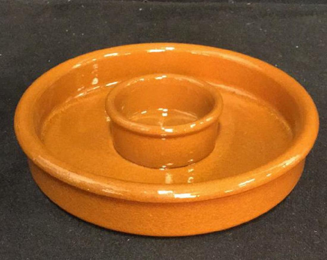 Lot 3 Terra-Cotta Garlic Roaster And Dishes - 5