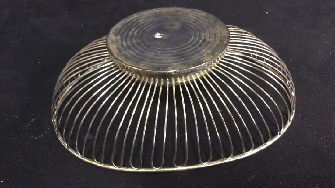 Lot 2 Silver Toned Metal Butter Dish And Basket - 10