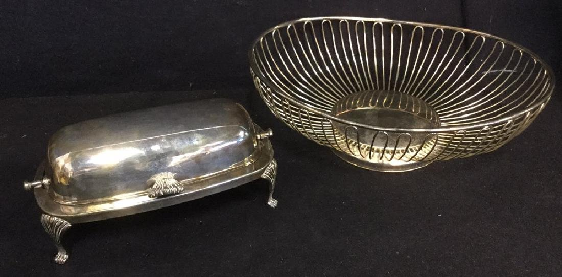 Lot 2 Silver Toned Metal Butter Dish And Basket
