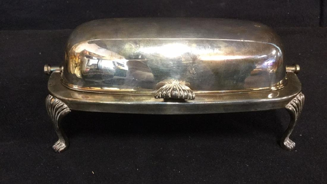Lot 2 Silver Toned Metal Butter Dish And Basket - 2