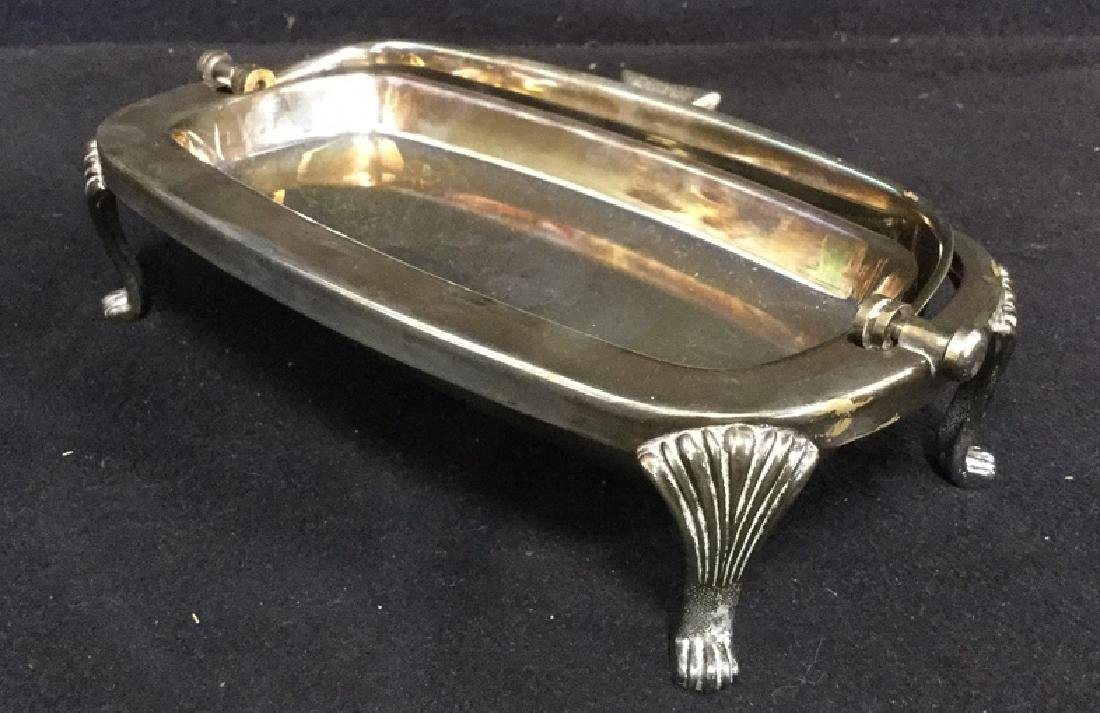 Lot 2 Silver Toned Metal Butter Dish And Basket - 4