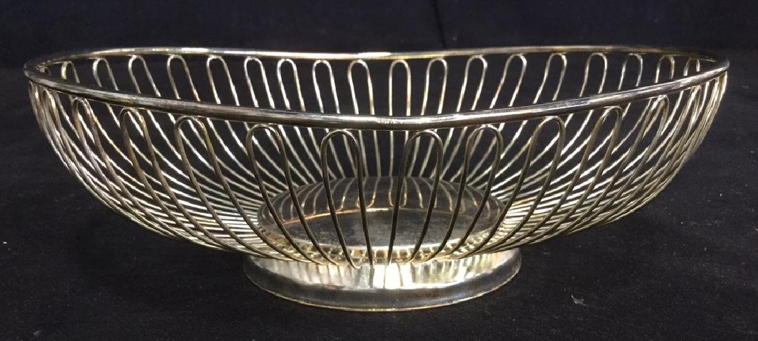 Lot 2 Silver Toned Metal Butter Dish And Basket - 7