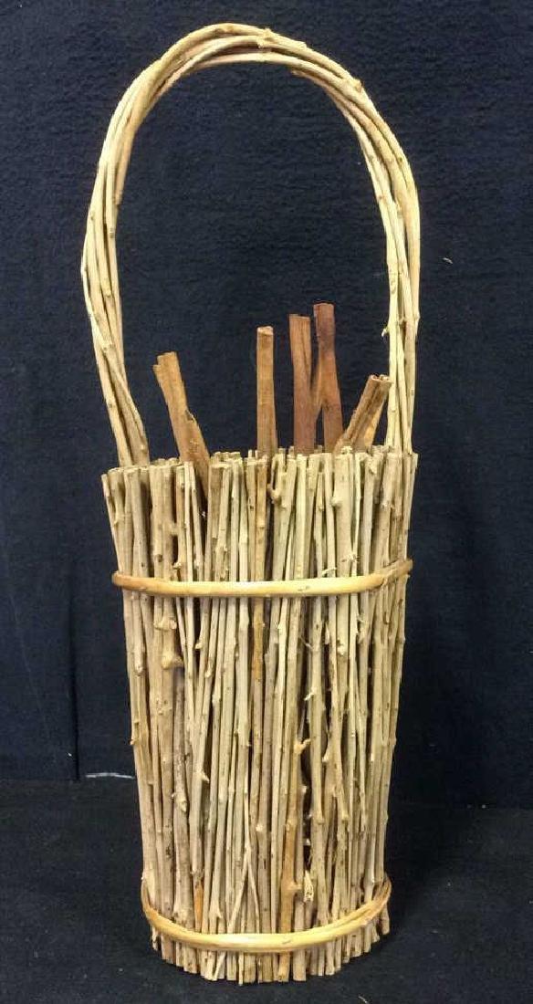 Handled Wood & Wicker Display Basket